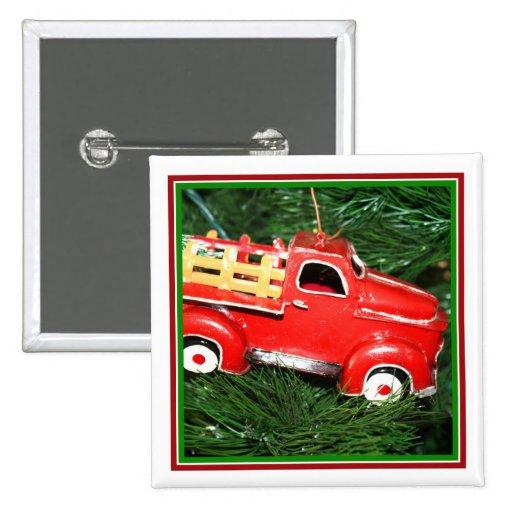 Poco ornamento rojo del navidad del camión de reco pins