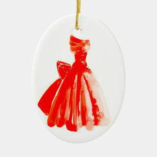 Poco ornamento rojo del navidad del vestido adorno navideño ovalado de cerámica