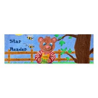 Poco oso con la miel, señales del lector de la tarjetas de visita mini