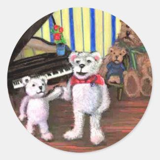 Poco oso y señora Treble Beary Sticker Etiqueta Redonda