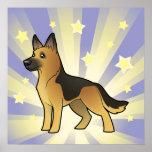 Poco pastor alemán de la estrella póster