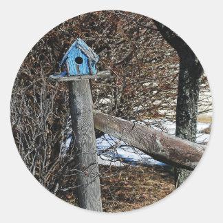 Poco pegatina azul del Birdhouse