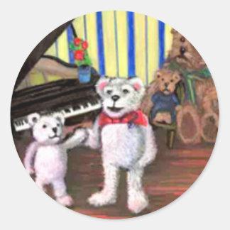 Poco pegatina de la lección de piano de los osos