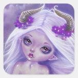 Poco pegatina de la púrpura de la luna del chica