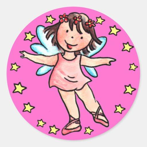 Poco pegatina del chica del ángel del ballet