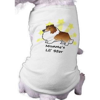 Poco perro pastor de Shetland de la estrella/colli Camisa De Perro