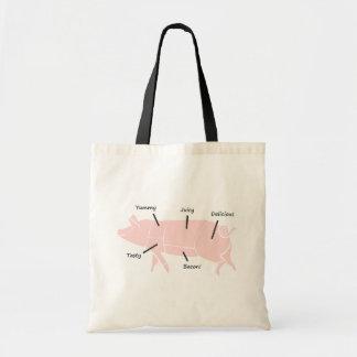 Poco Piggie rosado con las etiquetas sabrosas Bolsas De Mano