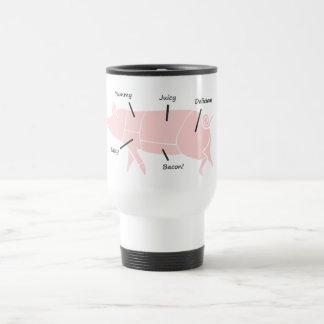 Poco Piggie rosado con las etiquetas sabrosas Tazas De Café