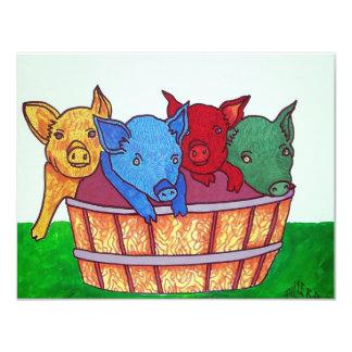 Poco Piggies por Piliero Invitación 10,8 X 13,9 Cm