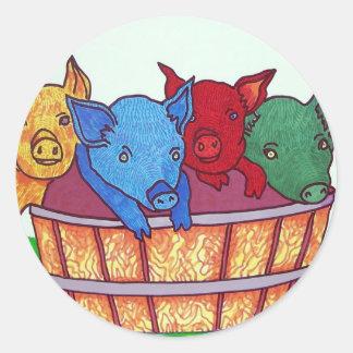 Poco Piggies por Piliero Etiquetas Redondas