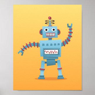 Poco poster retro del arte de la pared del robot p