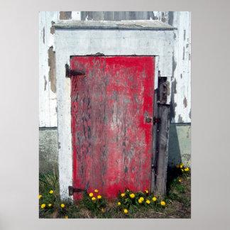 Poco poster rojo de la puerta