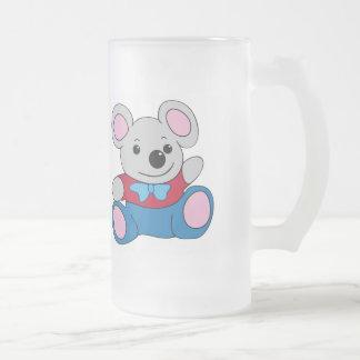 Poco ratón del dibujo animado taza de cristal