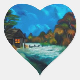 Poco resplandor de la Luna Llena del granero Pegatina En Forma De Corazón