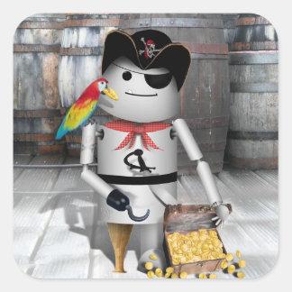Poco Robo-x9 para la charla como un día del pirata Calcomanías Cuadradass Personalizadas