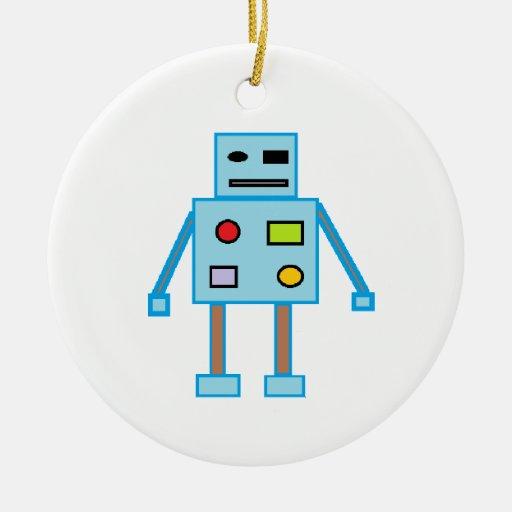 Poco robot azul adorno navideño redondo de cerámica