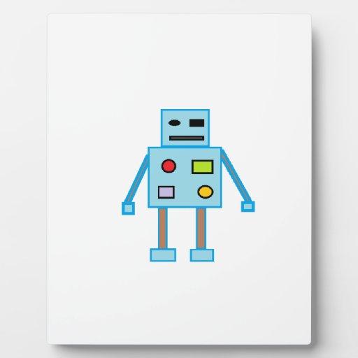 Poco robot azul placas de madera