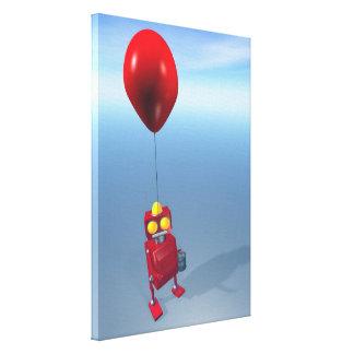 Poco robot rojo 1 del cumpleaños lienzo envuelto para galerías