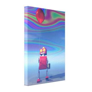 Poco robot rojo 2 del cumpleaños impresión en lienzo estirada
