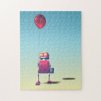 Poco robot rojo 3 del cumpleaños rompecabeza con fotos
