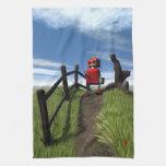 Poco robot rojo toalla de mano