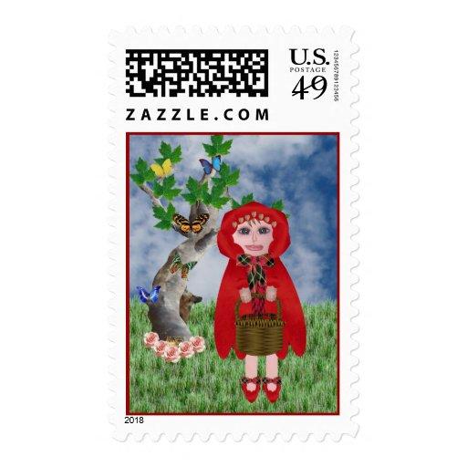 Poco rojo sello postal