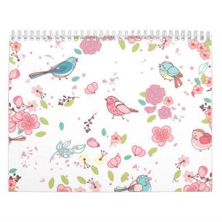Poco rosa del chirrido y femenino caprichoso azul calendarios de pared