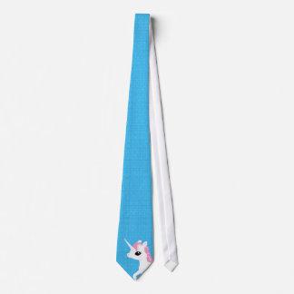 Poco unicornio con el lazo rosado de la melena corbatas personalizadas