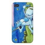 Poco unicornio que desea en las estrellas iPhone 4 fundas