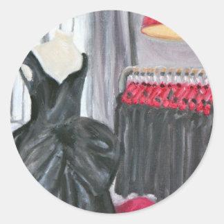 """Poco vestido negro "" Pegatina Redonda"