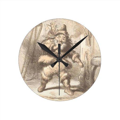 Poco vintage gordo Santa Reloj De Pared