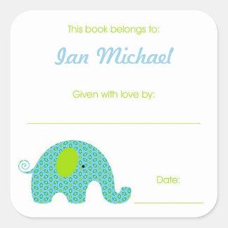 Pocos Bookplates de la placa de libro del elefante Pegatina Cuadrada