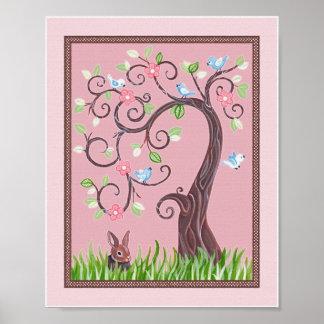 Pocos pájaros azules del amor en un poster del árb