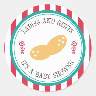Pocos pegatinas de la fiesta de bienvenida al bebé pegatina redonda