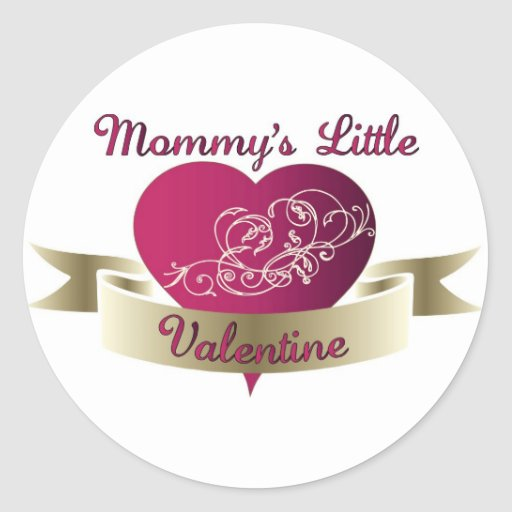 Pocos pegatinas del día de San Valentín de la mamá Pegatina Redonda