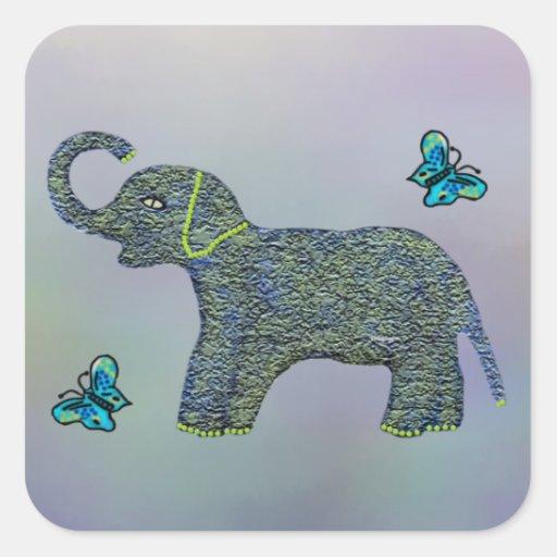 Pocos pegatinas del elefante del jade pegatinas cuadradases