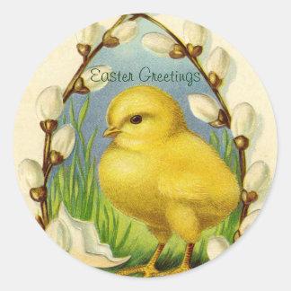 Pocos pegatinas del polluelo de Pascua Etiquetas Redondas