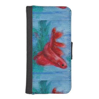 Pocos pescados rojos de Betta Fundas Billetera De iPhone 5