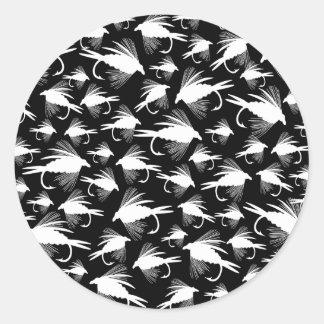 Pocos señuelos de la pesca con mosca pegatina redonda