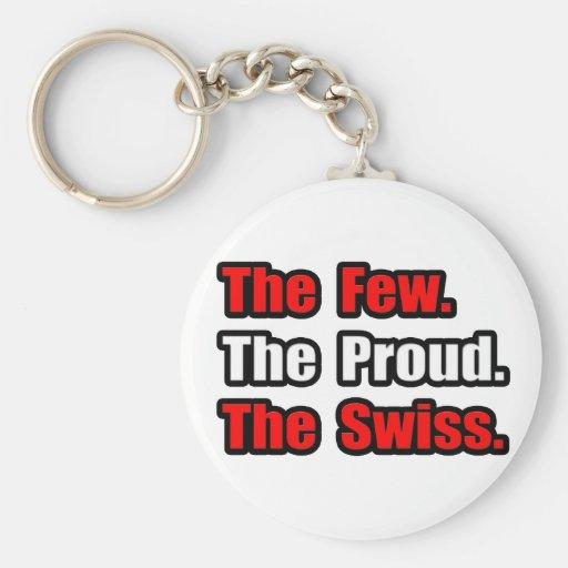 Pocos suizos orgullosos llavero redondo tipo pin