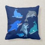 Pod of Cute Cartoon Dolphins Throw Pillow
