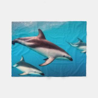 Pod of Dusky Dolphins off of Kaikoura Fleece Blanket