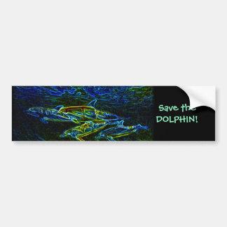 Pod of Neon Dolphin bumper sticker