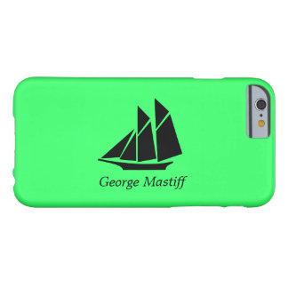 Podadoras Ship_personalize de Glow_Black-on-Green Funda De iPhone 6 Barely There