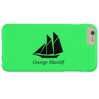 Podadoras Ship_personalize de Glow_Black-on-Green Funda De iPhone 6 Plus Barely There