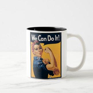 Podemos hacerlo anuncio del vintage taza dos tonos