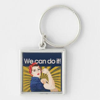 Podemos hacerlo feminismo llavero cuadrado plateado
