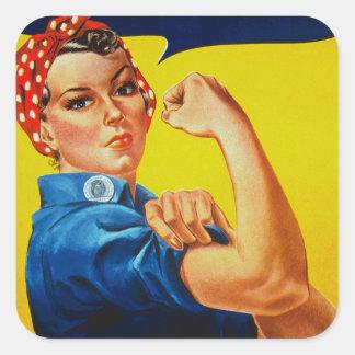 Podemos hacerlo Rosie el remachador Pegatina Cuadrada
