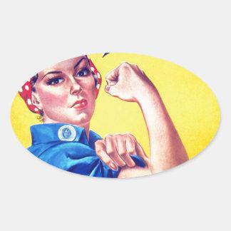Podemos hacerlo Rosie el remachador Pegatina Ovalada