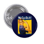¡Podemos hacerlo! Rosie el vintage WW2 del remacha Pin Redondo 2,5 Cm